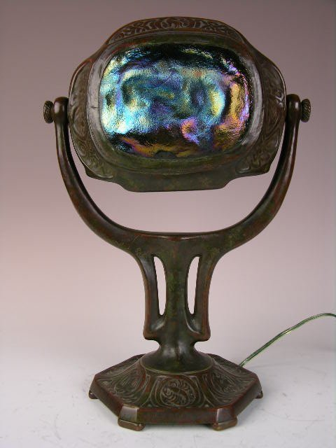 3: Tiffany Studios turtleback desk lamp.