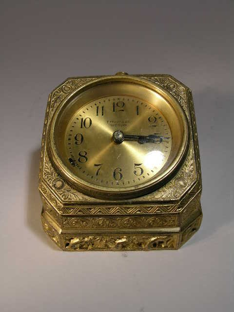 "14: Tiffany desk clock in the ""Venetian"" pattern."
