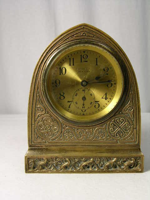 "15: Tiffany desk clock in the ""Venetian"" pattern."