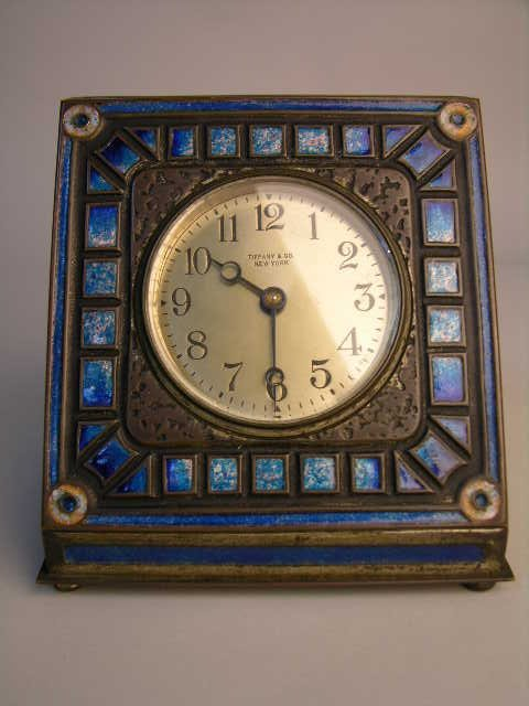 16: Louis C. Tiffany art deco pattern desk clock.