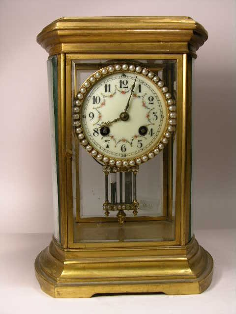 """1: French pearl insert crystal clock stamped """"Made in F"""