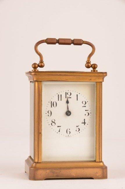 2: Brass carriage clock.