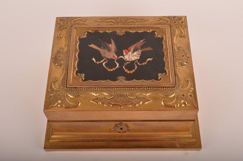 7: Bronze box with pietra dura lid.