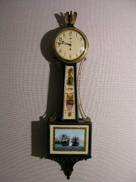 "8: A Willard banjo clock stamped ""Tiffany and Company N"