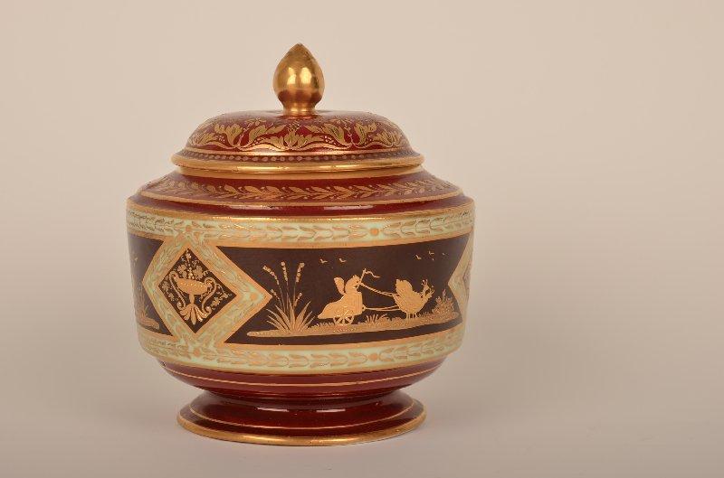 14: Royal Vienna porcelain magenta ground covered jar,