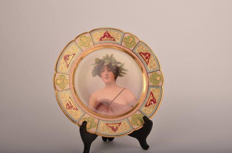18: 19th century Royal Vienna porcelain portrait plate