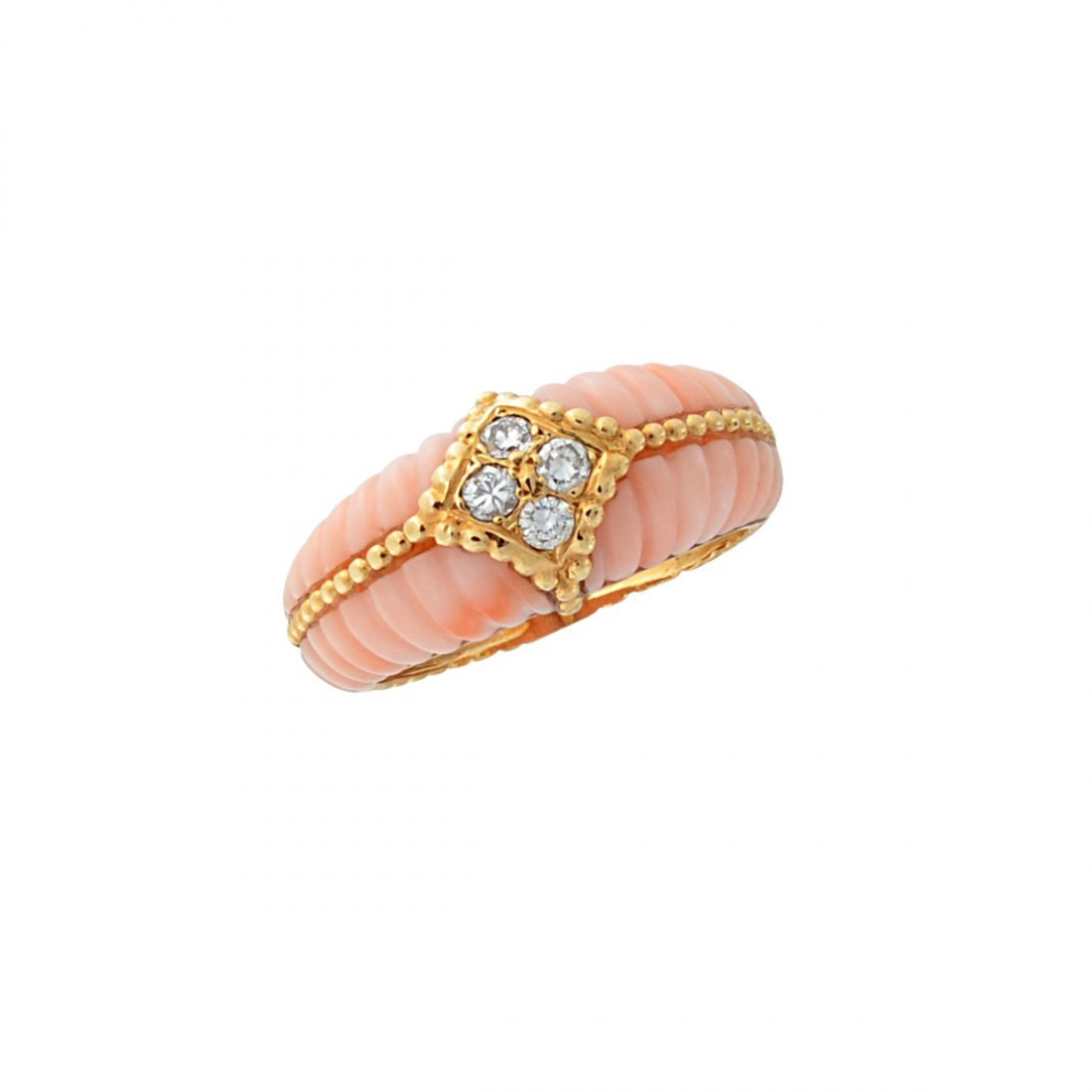 5: Van Cleef & Arpels coral ring accented with 2 round