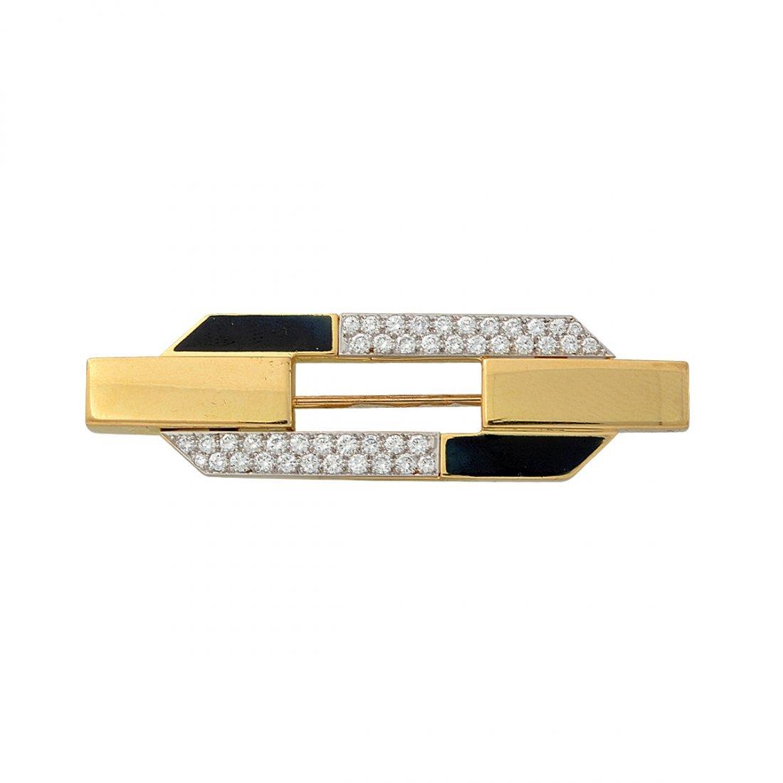 6: Webb 18k yellow gold and onyx pin. 44 diamonds