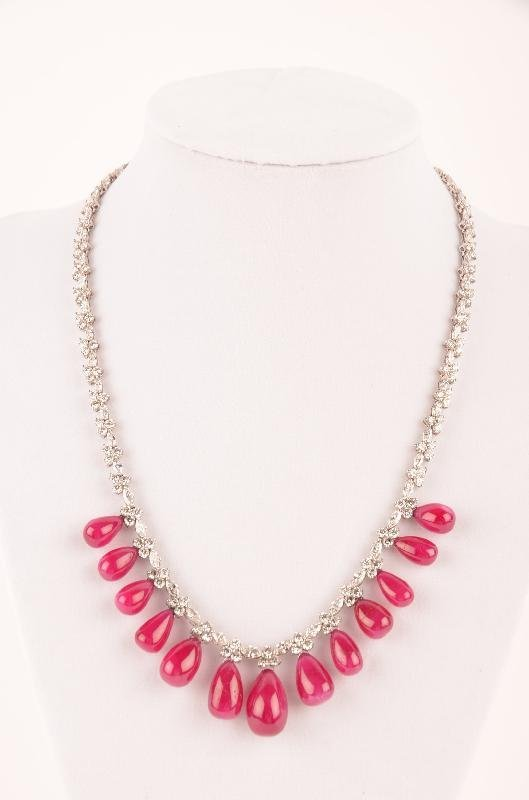 7: Fine Platinum Ruby and Diamond Necklace, approx: rub