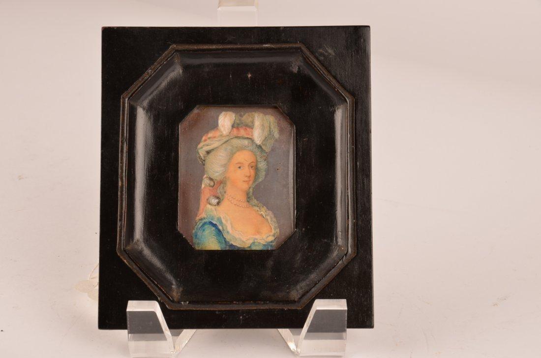 16: Victorian portrait miniature in an ebony frame.