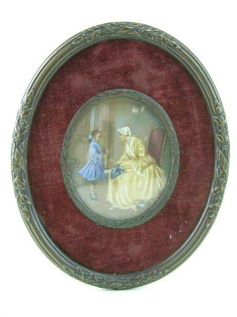17: French School, 19th century oval portrait miniature