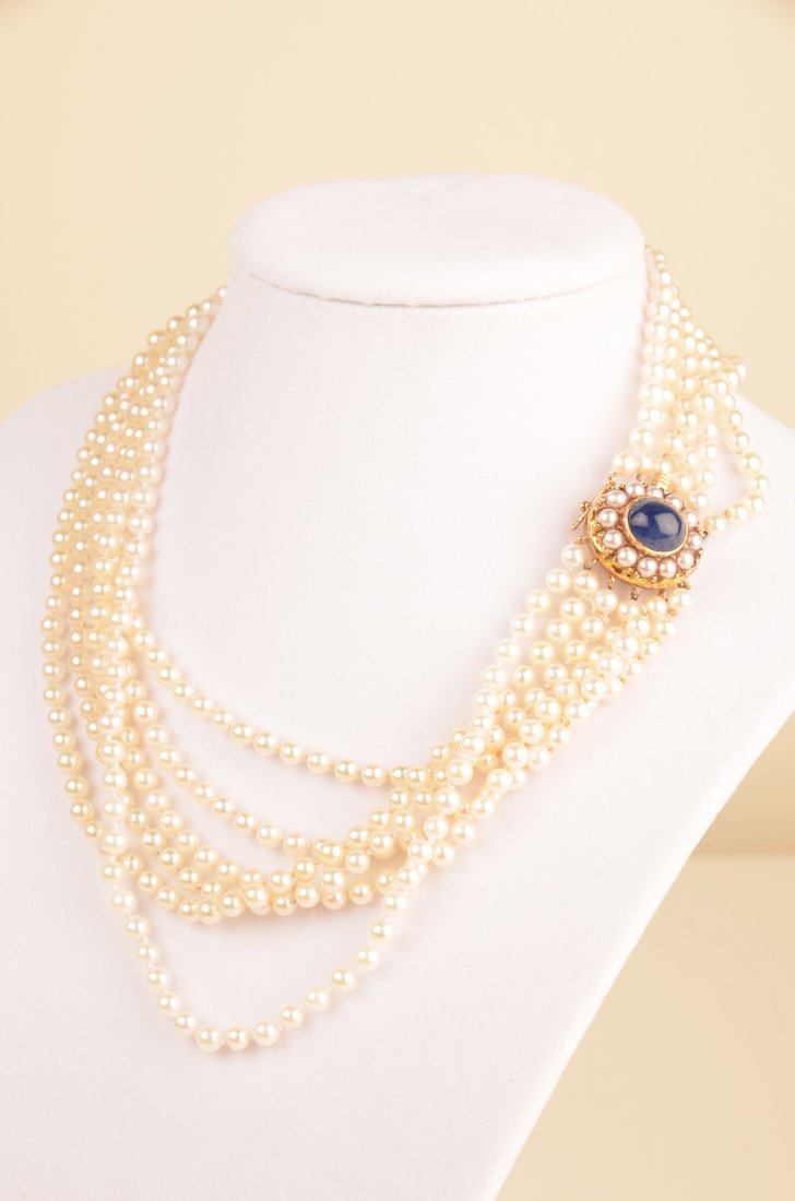 11A: 5 Carat Sapphire and 4mm pearl six-strand necklace