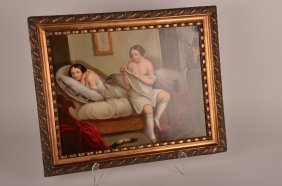 9: 19th century oil on copper, The Peeping Tom, unsigne