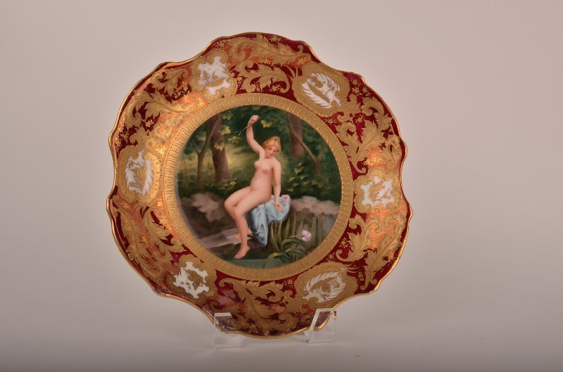 """15: Royal Vienna plate titled """"Fleurs d Eau"""" with a nud"""