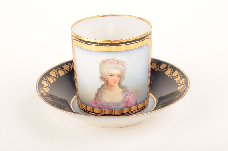 17: 19 th Century Sevres portrait cup and saucer.