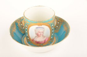 18: 18 th Century Sevres portrait cup and saucer.