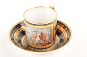 19: 19 th Century Sevres portrait cup and saucer.