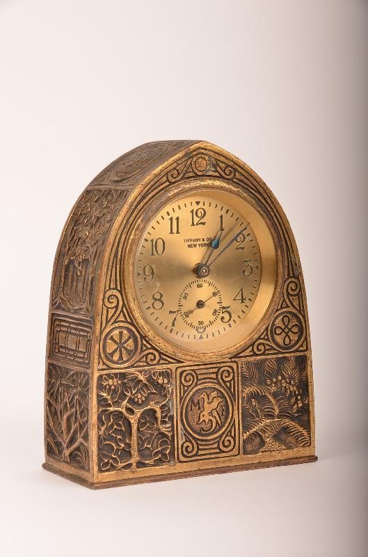 "1: Tiffany Studios ""Bookmark"" Pattern Desk Clock."