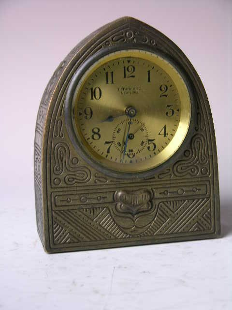 "10: Tiffany Studios ""Indian"" pattern clock."