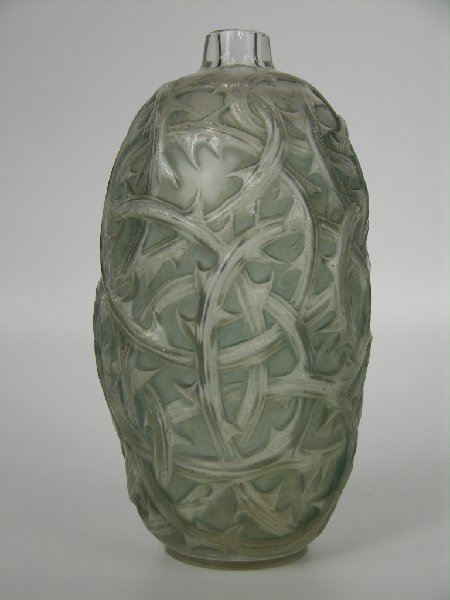 """Rene Lalique  """"Ronces"""" vase in with a light blue patina"""