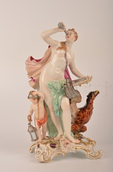Meissen figurine of a lady looking through a telescope.