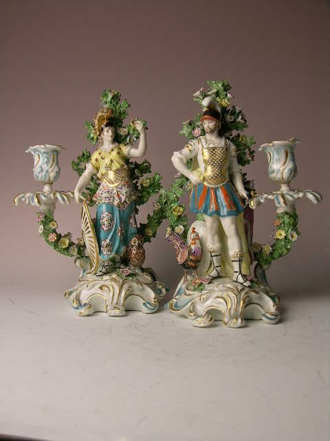 Chelsea porcelain candlesticks
