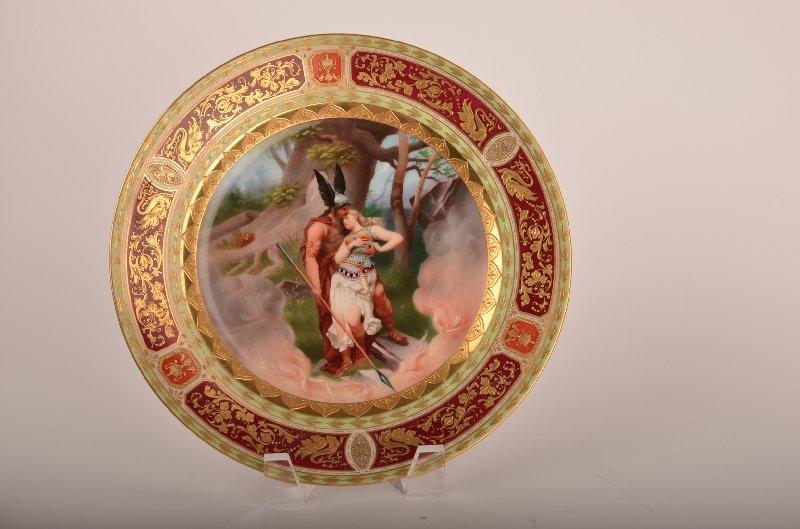 "Antique Royal Vienna portrait plate, ""Wolan's Abschied"