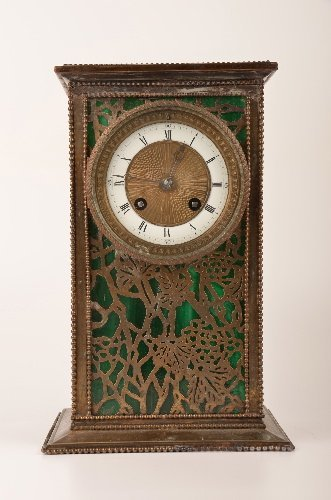 A Riviere Studios, New York, desk clock, etched metal g
