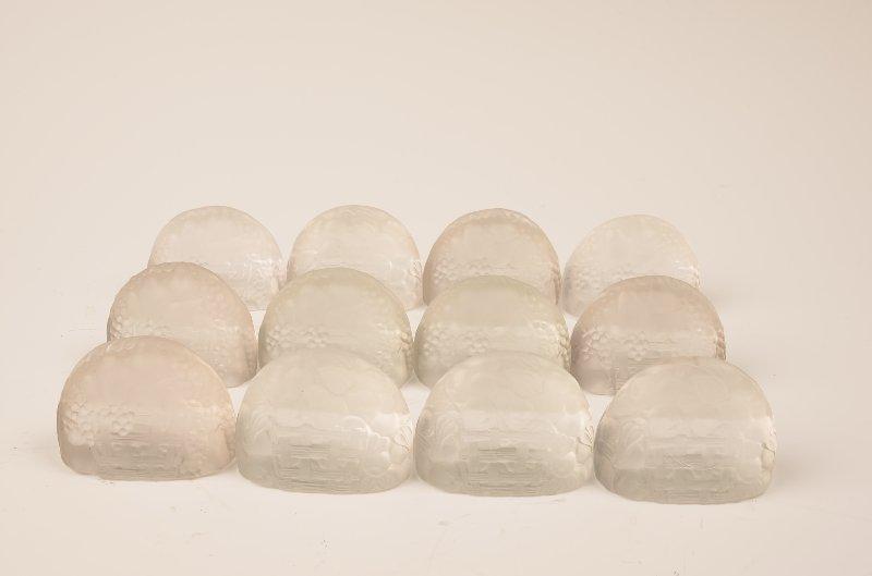"Rare Set of (12) R. Lalique ""Panier de Fruits"" place ca"