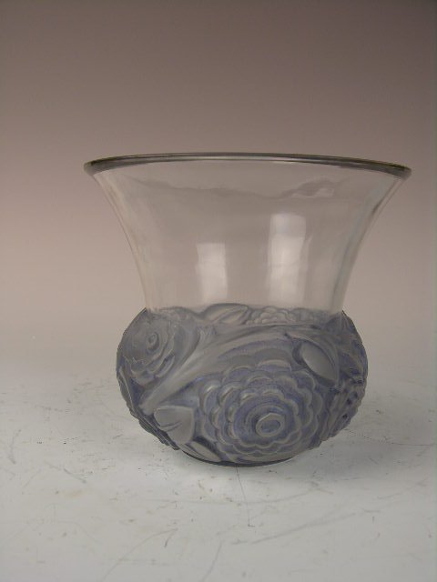 "Rene Lalique ""Renoncules"" Vase In A Light Blue Glass."