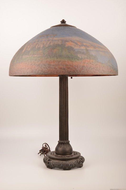 """Handel reverse painted lamp 25 1/2""""."""