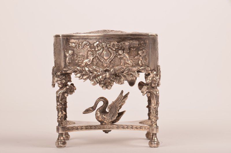 Sterling silver mechanical singing bird box with a