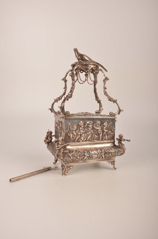 Sterling Silver singing bird box with a large pheasant