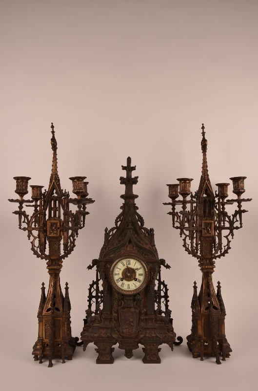 Gothic three piece bronze garniture set
