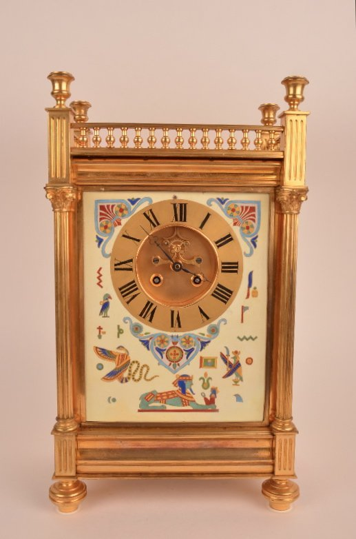 French mantle clock with a painted center plaque of an