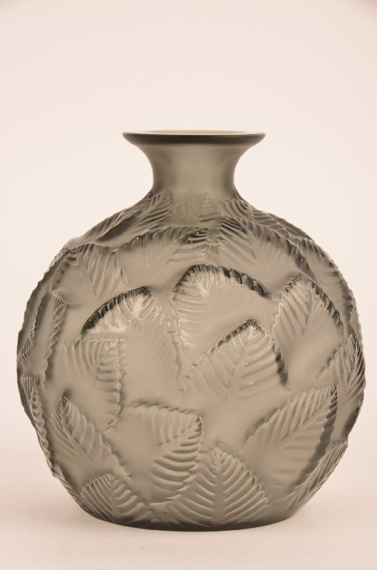 """R. Lalique """"Oremeaux"""" vase in grey glass."""