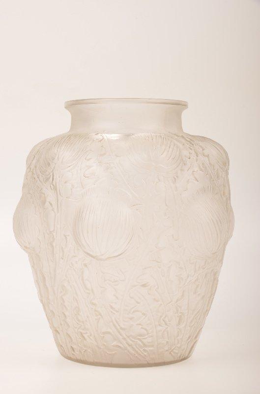 "Rene Lalique ""Domremy"" vase in frosty glass."