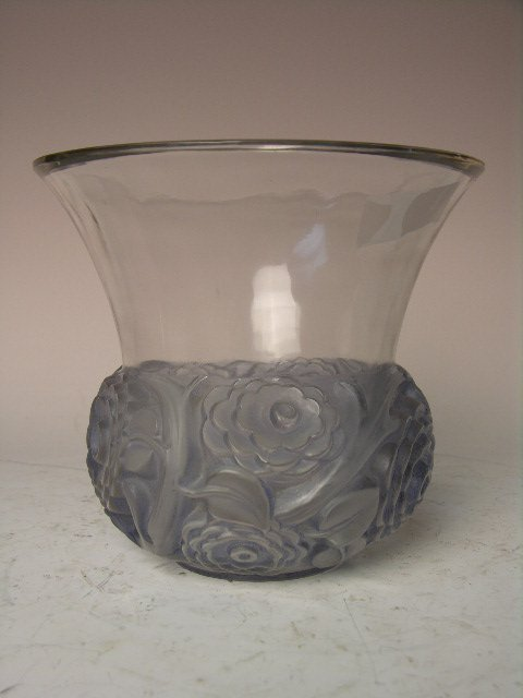 """Rene Lalique """"Renoncules"""" vase in a light green glass."""