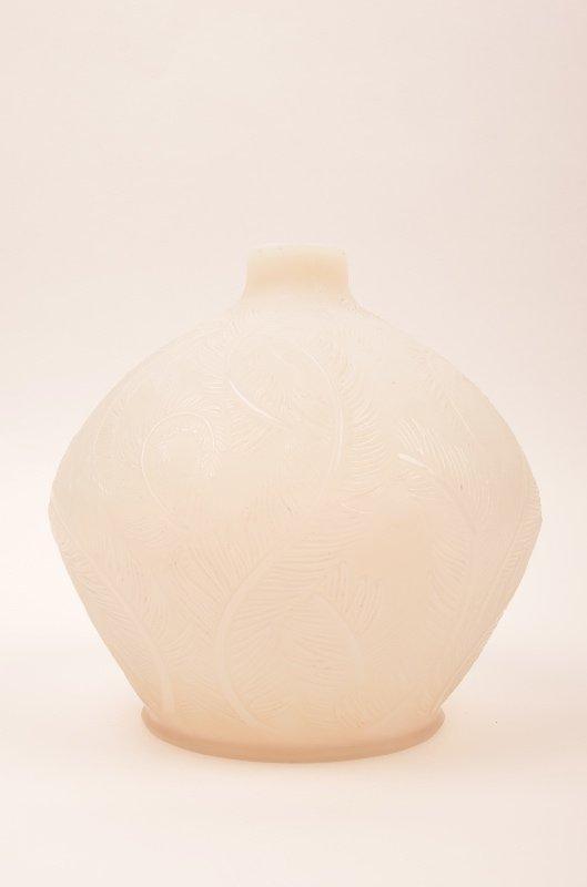 """R. Lalique """"Plumes"""" opalescent vase."""