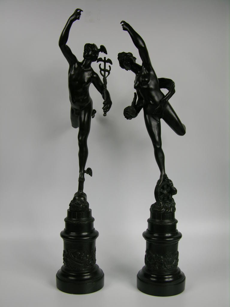 19 th century flying Mercury and Fortuna, signed