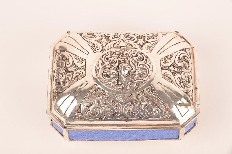 Mechanical 925 sterling silver singing  bird box with