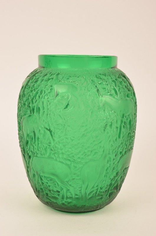 Lalique Biches vase in a emerald greene glass.