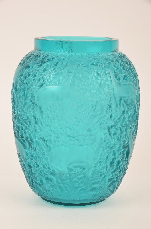 Lalique Biches vase in a turquoise glass.