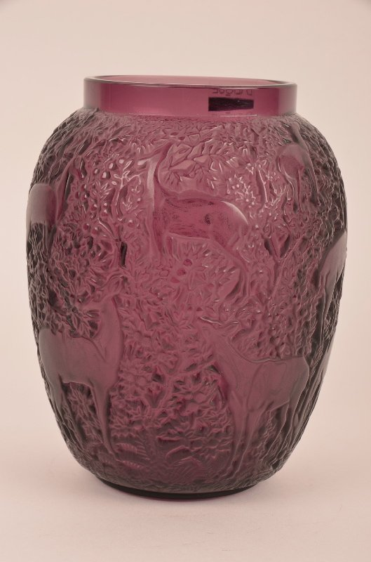 Lalique Biches vase in a deep amethyst purple glass.