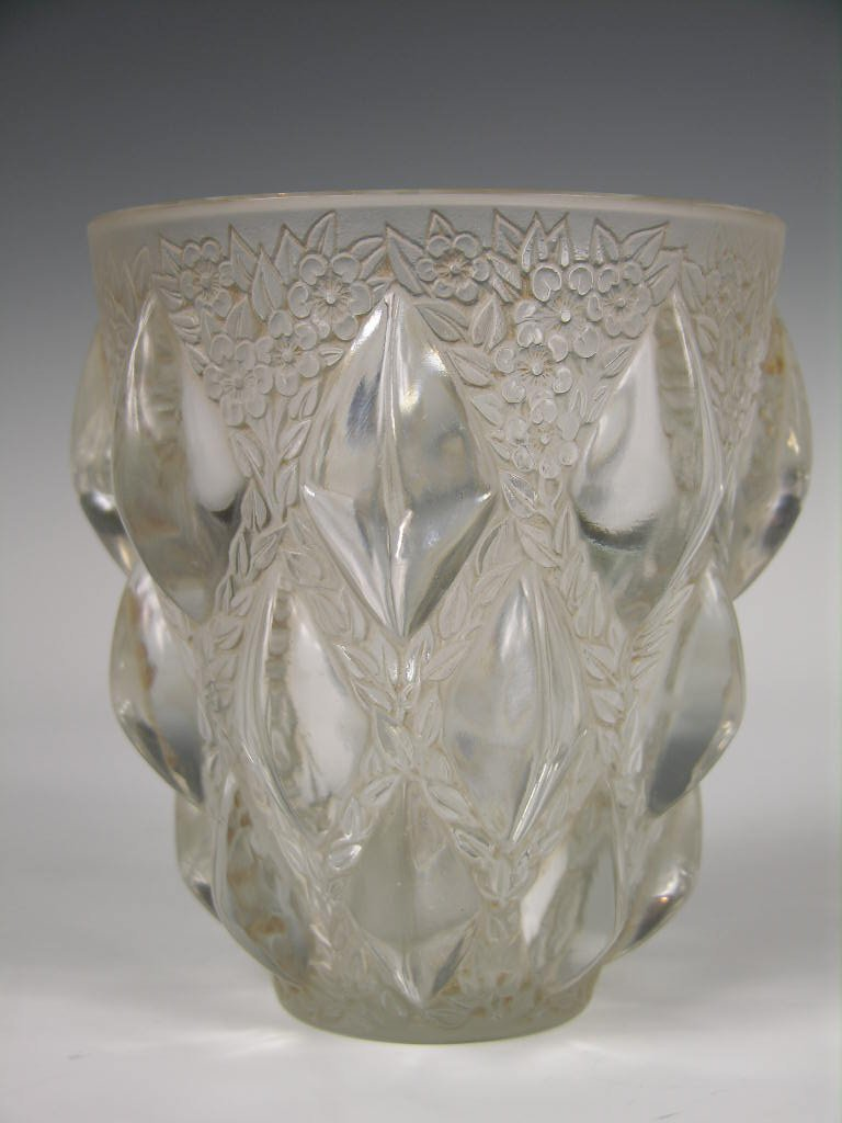 """A Rene Lalique """"Rampillon"""" vase decorated with a large"""