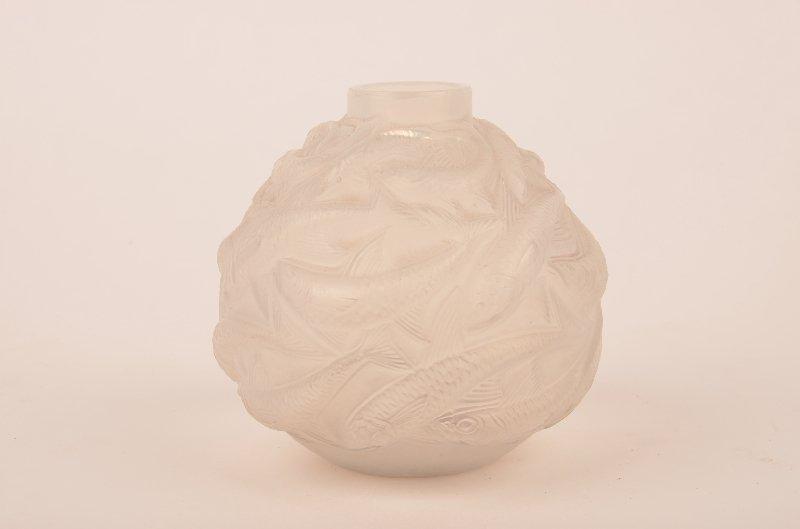 "R. Lalique ""Oleron"" vase, C. 1927, H 3 1/2"":Opalescent"