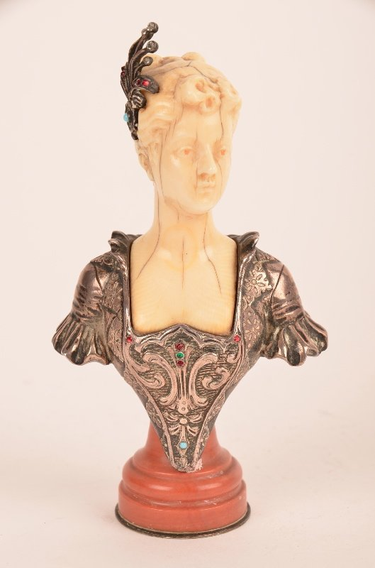 Silver and ivory Victorian bust of a lady with a