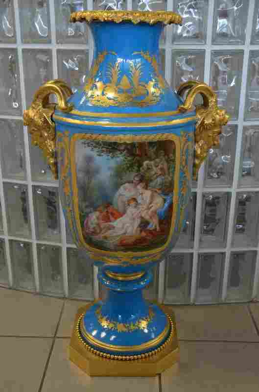 Monumental Sevres porcelain and gold dore double sided