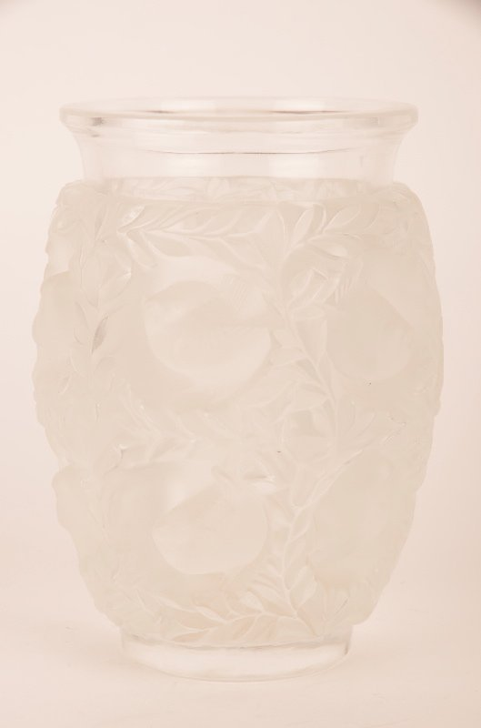 "Lalique ""Baquette"" vase in clear and frosty glass."
