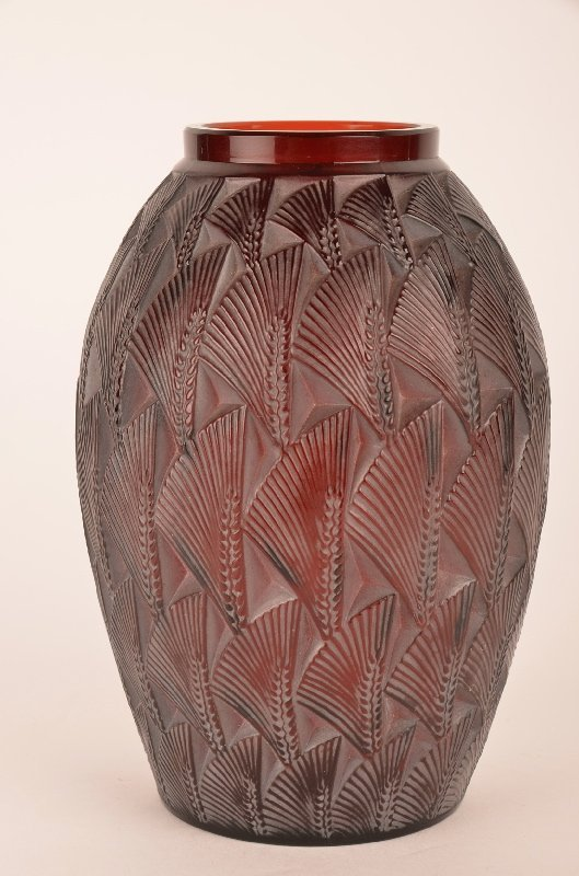 "Rene Lalique ""Grinon"" vase in a rich brown glass."